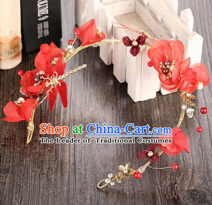 Top Grade Handmade Chinese Classical Hair Accessories Princess Wedding Baroque Red Flowers Hair Clasp Bride Dragonfly Headband for Women