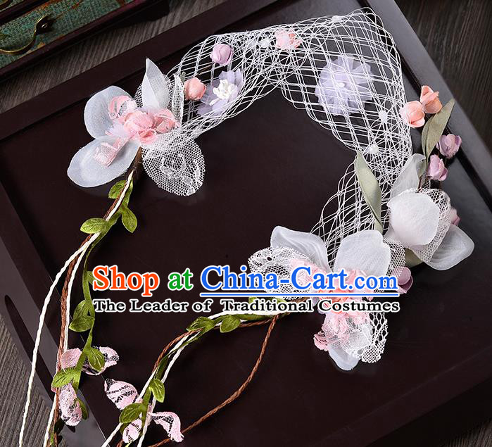 Top Grade Handmade Chinese Classical Hair Accessories Princess Wedding Baroque Pink Flowers Veil Hair Clasp Bride Headband for Women