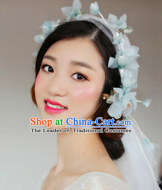 Top Grade Handmade Chinese Classical Hair Accessories Princess Wedding Baroque Green Flowers Veil Hair Clasp Bride Headband for Women