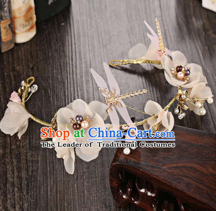 Top Grade Handmade Chinese Classical Hair Accessories Princess Wedding Baroque White Flowers Hair Clasp Bride Dragonfly Headband for Women