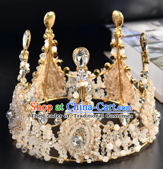 Top Grade Handmade Hair Accessories Baroque Luxury Beads Crystal Round Royal Crown, Bride Wedding Hair Kether Jewellery Princess Imperial Crown for Women
