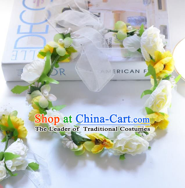 Top Grade Handmade Chinese Classical Hair Accessories Princess Wedding Baroque Yellow Flowers Garland Hair Clasp Headband Bride Headband for Women