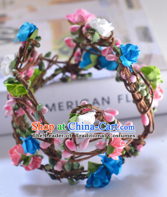 Top Grade Handmade Chinese Classical Hair Accessories Princess Wedding Baroque Blue Flowers Garland Hair Clasp Headband Bride Headband for Women
