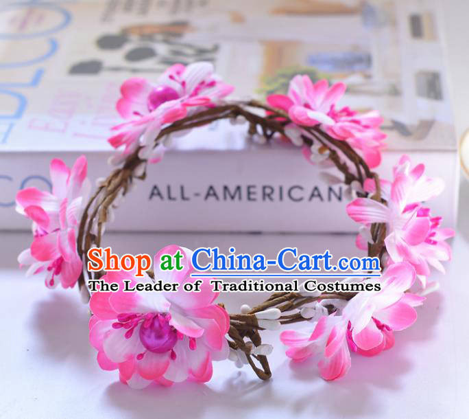 Top Grade Handmade Chinese Classical Hair Accessories Princess Wedding Baroque Pink Flowers Garland Hair Clasp Headband Bride Headband for Women