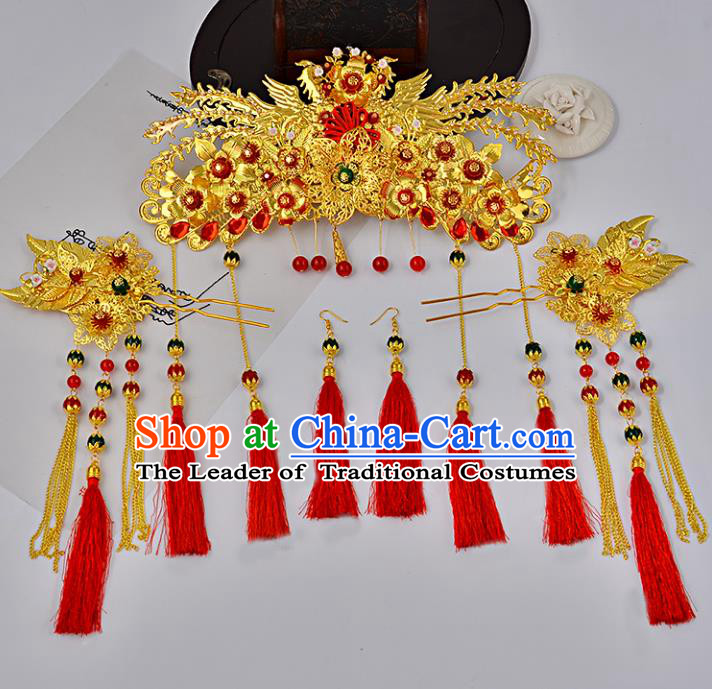Traditional Handmade Chinese Ancient Costume Wedding Xiuhe Suit Hair Accessories Complete Set Phoenix Coronet, Bride Palace Lady Red Tassel Step Shake Hanfu Hairpins for Women