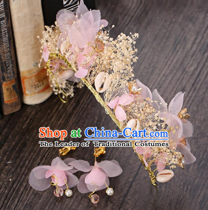 Top Grade Handmade Hair Accessories Baroque Style Palace Princess Wedding Pink Silk Flowers Vintage Royal Crown and Earrings, Bride Hair Kether Jewellery Imperial Crown for Women