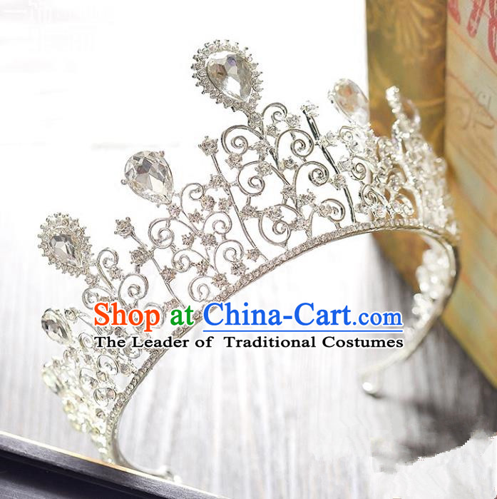 Top Grade Handmade Hair Accessories Baroque Style Princess Crystal Vintage Royal Crown, Bride Wedding Hair Kether Jewellery Imperial Crown for Women