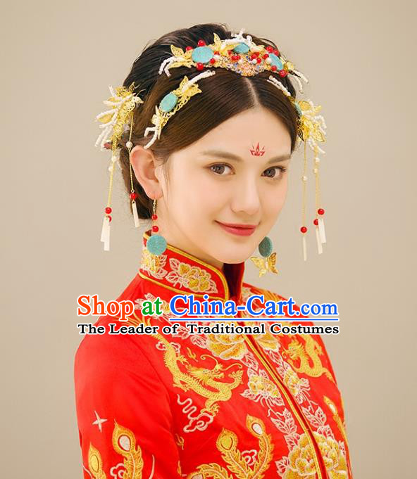 Traditional Handmade Chinese Ancient Wedding Cloisonne Hair Accessories Complete Set Xiuhe Suit Tassel Phoenix Coronet, Bride Palace Lady Step Shake Hanfu Hairpins for Women