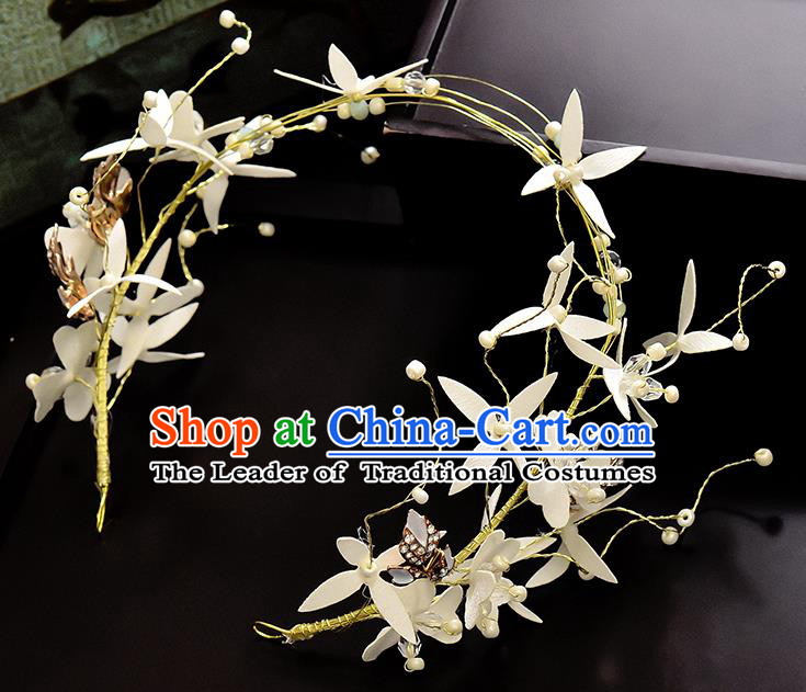 Top Grade Handmade Chinese Classical Hair Accessories Princess Wedding Baroque Silk Flower Garland Hair Clasp Headband Bride Headwear for Women