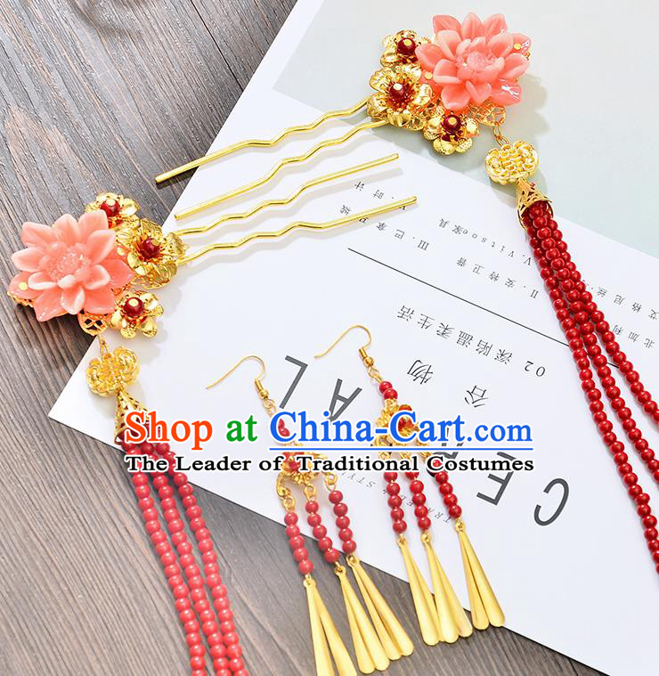 Traditional Handmade Chinese Ancient Costume Wedding Xiuhe Suit Hair Accessories Red Beads Tassel Hairpins, Bride Palace Lady Step Shake Hanfu Hairpins for Women