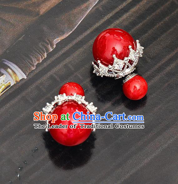Top Grade Handmade Chinese Classical Jewelry Accessories Wedding Red Pearls Earrings Bride Hanfu Eardrop for Women
