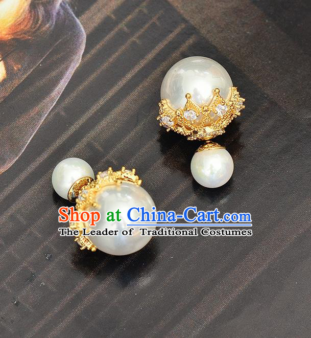 Top Grade Handmade Chinese Classical Jewelry Accessories Wedding Pearls Earrings Bride Hanfu Eardrop for Women