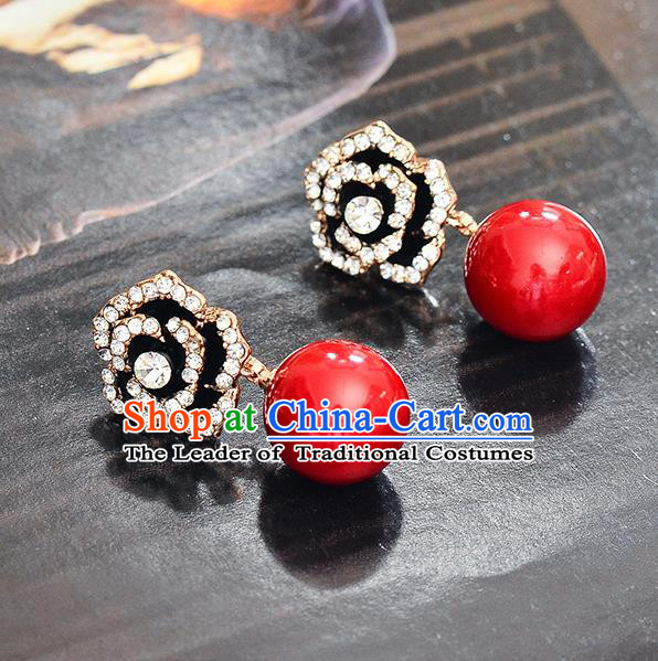 Top Grade Handmade Chinese Classical Jewelry Accessories Wedding Crystal Flower Earrings Bride Hanfu Eardrop for Women