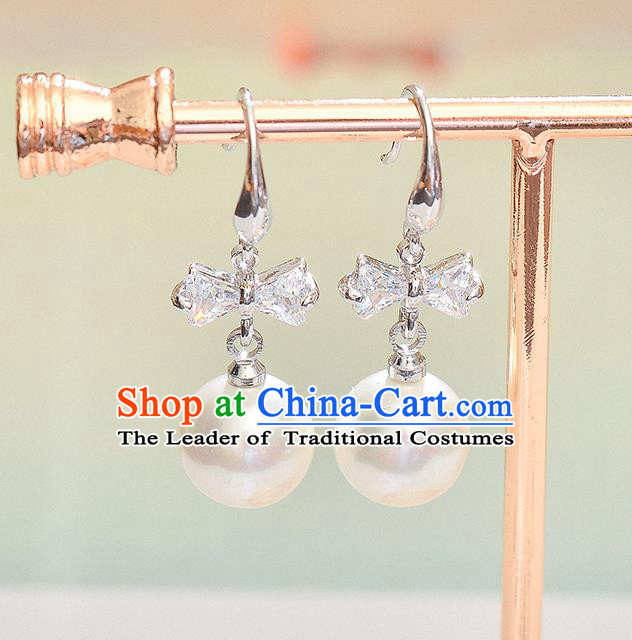Top Grade Handmade Chinese Classical Jewelry Accessories Wedding Crystal Pearl Earrings Bride Hanfu Eardrop for Women