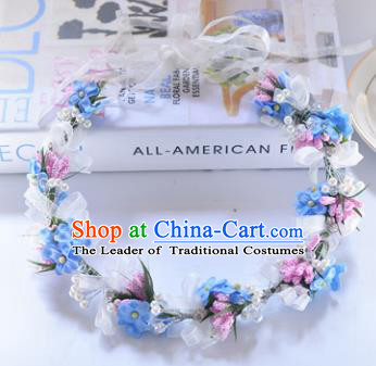 Top Grade Handmade Chinese Classical Hair Accessories Princess Wedding Baroque Blue Flower Garland Hair Clasp Headband Bride Headwear for Women