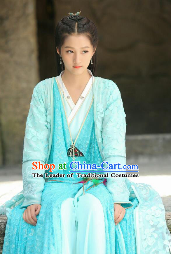 Traditional Chinese Ancient Times Nobility Lady Fairy Embroidery Costume and Headpiece Complete Set, Xuan-Yuan Sword Legend  The Clouds of Han Chinese Princess Hanfu Dress for Women