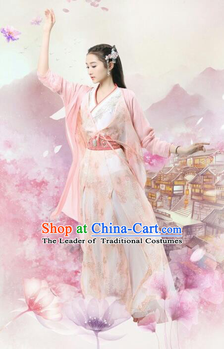 Traditional Chinese Ancient Times Princess Fairy Embroidery Costume and Headpiece Complete Set, Xuan-Yuan Sword Legend  The Clouds of Han Chinese Palace Lady Hanfu Dress for Women