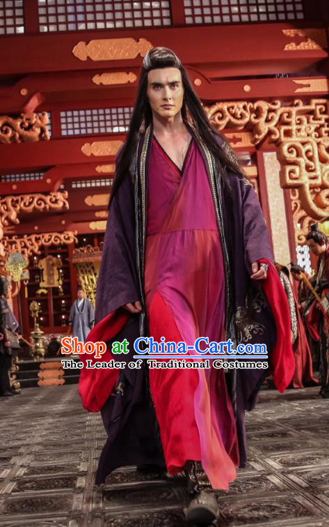 Traditional Chinese Ancient Times Devil Kawaler Costume, Xuan-Yuan Sword Legend: The Clouds of Han Chinese Swordsman Hanfu Robe for Men