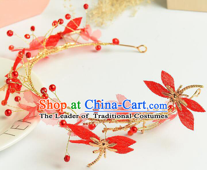 Top Grade Handmade Chinese Classical Hair Accessories Princess Wedding Baroque Red Dragonfly Garland Hair Clasp Headband Bride Headband for Women
