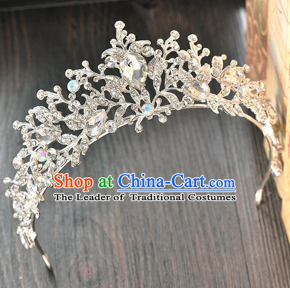 Top Grade Handmade Hair Accessories Baroque Luxury Royal Crown, Bride Wedding Hair Kether Jewellery Princess Crystal Imperial Crown for Women
