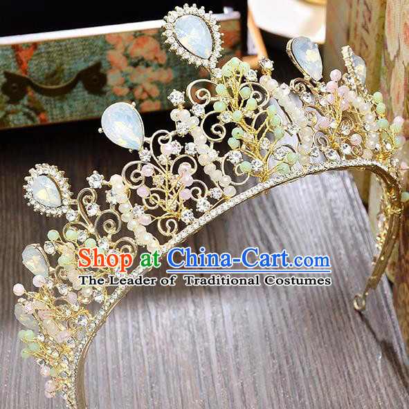 Top Grade Handmade Hair Accessories Baroque Luxury Opal Beads Royal Crown, Bride Wedding Hair Kether Jewellery Princess Crystal Imperial Crown for Women