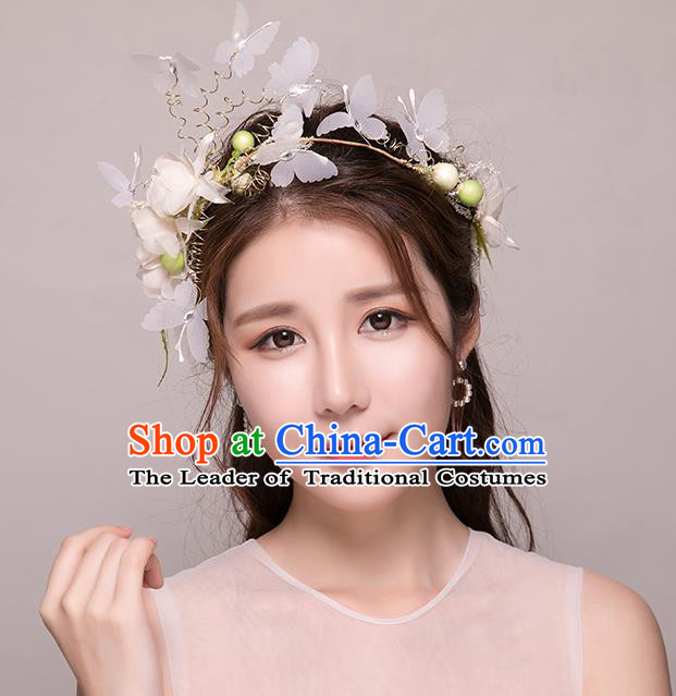 Top Grade Handmade Chinese Classical Hair Accessories Princess Wedding Baroque Butterfly Flowers Garland Hair Clasp Headband Bride Headband for Women