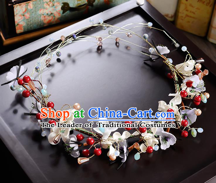 Top Grade Handmade Chinese Classical Hair Accessories Princess Wedding Baroque Red Beads Flowers Garland Hair Clasp Headband Bride Headband for Women