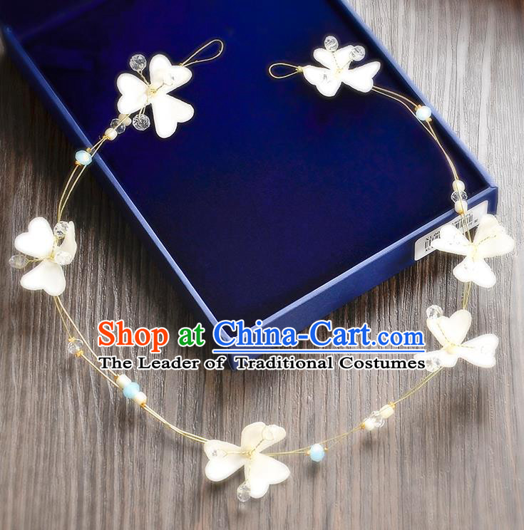 Top Grade Handmade Chinese Classical Hair Accessories Princess Wedding Baroque White Flowers Garland Hair Clasp Headband Bride Headband for Women