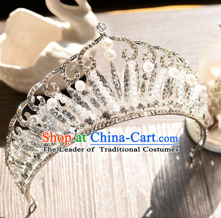 Top Grade Handmade Hair Accessories Baroque Luxury Crystal Royal Crown, Bride Wedding Hair Jewellery Princess Crystal Imperial Crown for Women