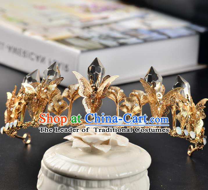 Top Grade Handmade Hair Accessories Baroque Queen Crystal Golden Butterfly Royal Crown, Bride Wedding Hair Jewellery Princess Imperial Crown for Women