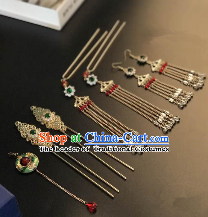 Traditional Handmade Chinese Wedding Xiuhe Suit Bride Blueing Tassel Hair Accessories Complete Set, Step Shake Hanfu Hairpins for Women