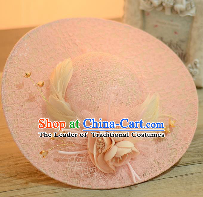 Top Grade Handmade Chinese Classical Hair Accessories Princess Wedding Baroque Hat Headwear Pink Flowers Feather Top Hat for Women