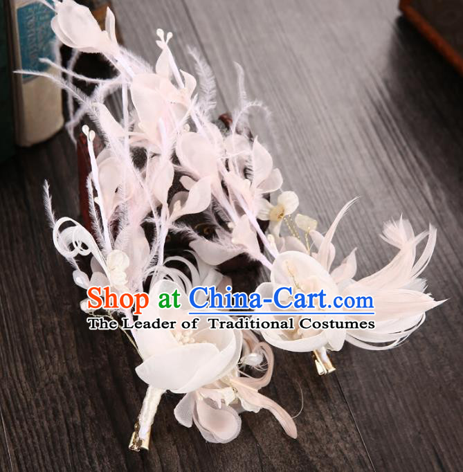 Top Grade Handmade Chinese Classical Hair Accessories Princess Wedding Baroque Headwear Pink Feather Flowers Headband Hair Clasp for Women