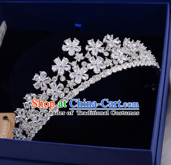 Top Grade Handmade Hair Accessories Baroque Zircon Flowers Imperial Crown, Bride Wedding Hair Jewellery Princess Crystal Crown for Women