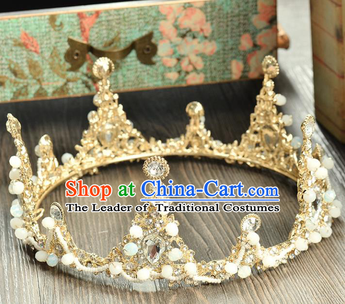 Top Grade Handmade Hair Accessories Baroque Crystal Beads Round Imperial Crown, Bride Wedding Hair Jewellery Queen Crystal Crown for Women