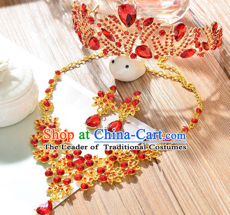 Top Grade Handmade Hair Accessories Baroque Red Crystal Imperial Crown and Necklace Earrings, Bride Wedding Hair Jewellery Queen Crystal Crown for Women