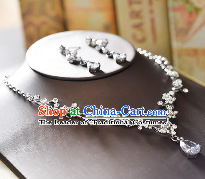 Top Grade Handmade Chinese Classical Jewelry Accessories Wedding Crystal Zircon Bowknot Pearls Tassel Necklace and Earrings Bride Hanfu Necklet Headgear for Women