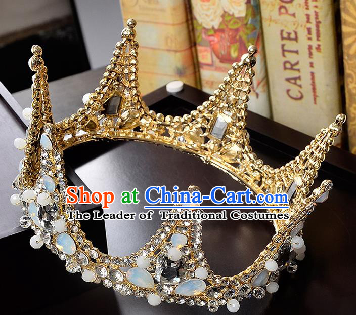 Top Grade Handmade Hair Accessories Baroque Crystal Round Imperial Crown, Bride Wedding Hair Jewellery Queen Crystal Golden Crown for Women