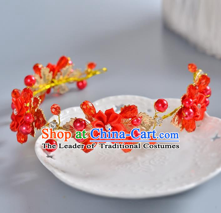 Top Grade Handmade Chinese Classical Hair Accessories Princess Wedding Baroque Headwear Red Beads Flowers Hair Clasp Bride Headband for Women