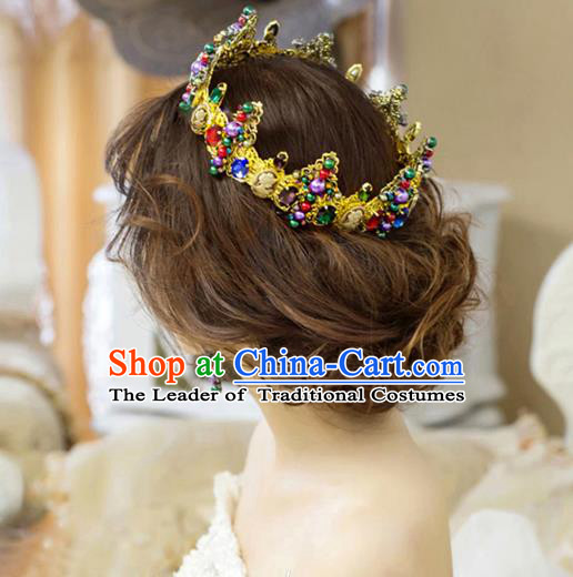 Top Grade Handmade Hair Accessories Baroque Colorful Crystal Royal Crown, Bride Wedding Hair Jewellery Princess Imperial Crown for Women