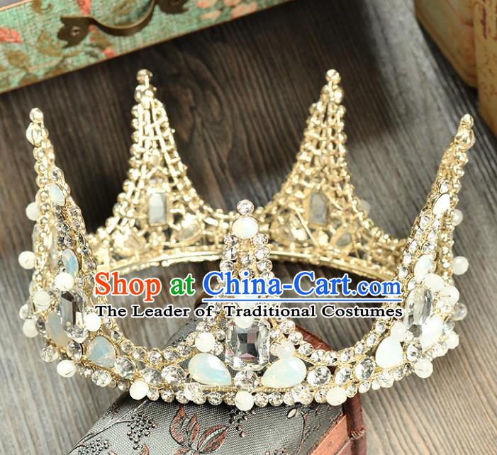 Top Grade Handmade Hair Accessories Baroque Opal Round Imperial Crown, Bride Wedding Hair Jewellery Princess Crystal Crown for Women