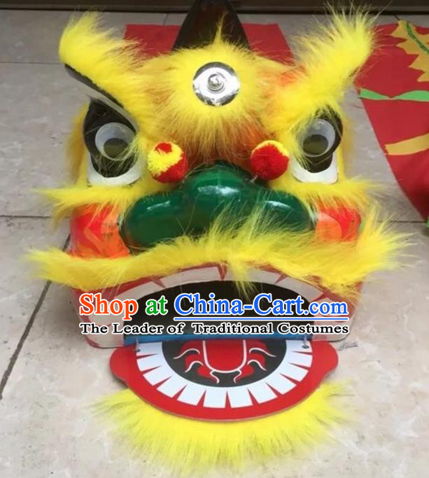 World Lion Dance Competition Yellow Fur Lion Head Children Single Lion Dance Costumes Complete Set
