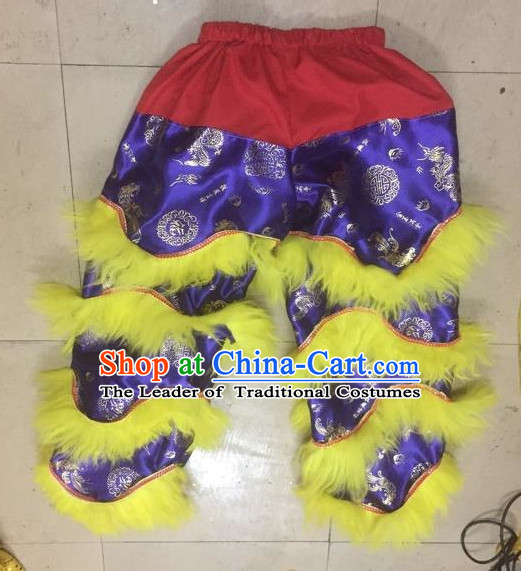 World Lion Dance Competition Fur Hoksan Costume Lion Dance Pants Adult Size Costumes Purple Trousers