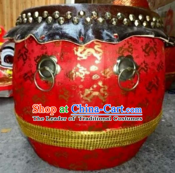 Dragon Dance Lion Dance Red Drum Cowhide Drum Cart Musical Instrument Tupan Complete Set