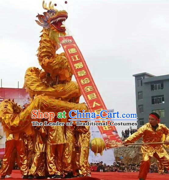 World Dragon Dance Competition Golden Dragon Head Lion Dance Costumes Complete Set for Adult