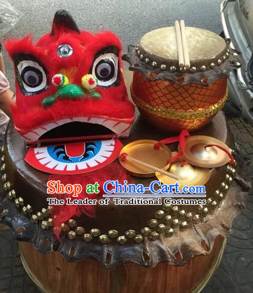 World Lion Dance Competition Orange Fur Lion Head Lion Dance Costumes and Drum Gong for Kids