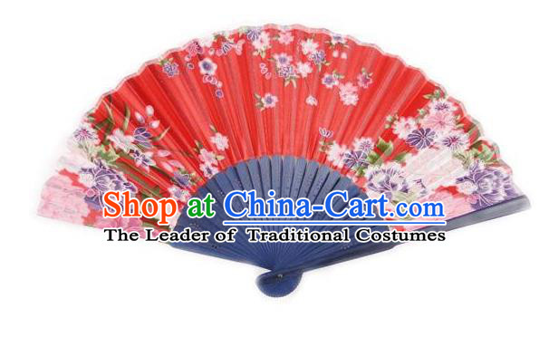 Traditional Chinese Crafts Silk Folding Fan China Sensu Japan Printing Flowers Dance Red Accordion Fan for Women