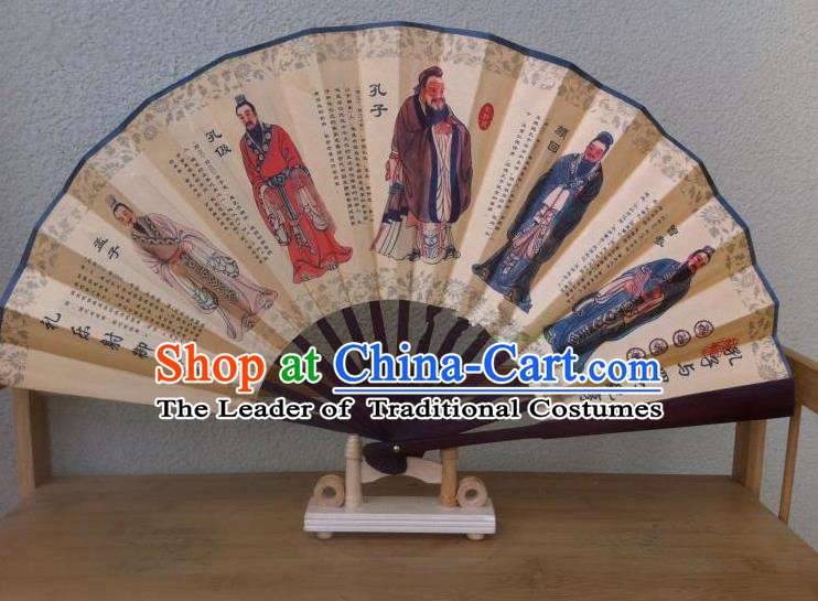 Traditional Chinese Crafts Silk Folding Fan China Sensu Ink Painting Confucius Accordion Fan for Men