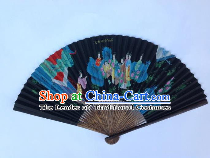 Traditional Chinese Crafts Peking Opera Folding Fan China Sensu Ink Painting A Dream in Red Mansions Black Paper Paper Fan