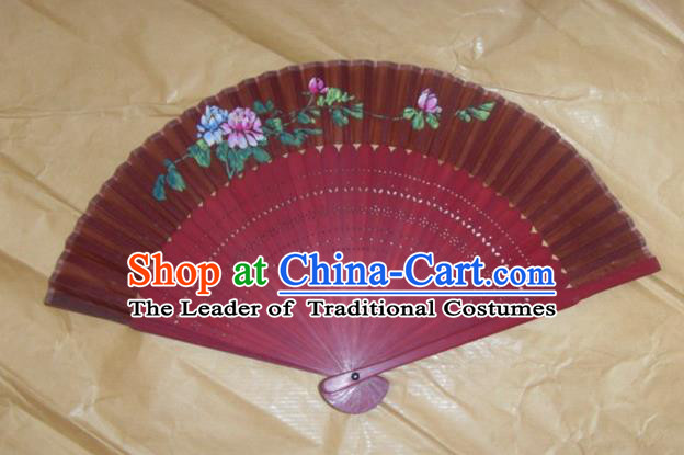 Traditional Chinese Crafts Peking Opera Folding Fan China Sensu Printing Flowers Red Wood Paper Fan